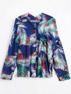 Drop Shoulder Tropical Print Shirt - Deep Blue
