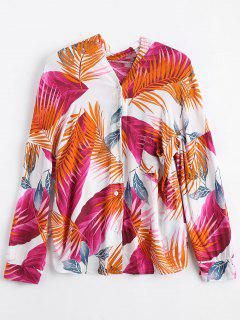 Drop Shoulder Tropical Print Shirt - Orange