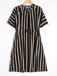 Half Sleeve Drawstring Striped Dress - Black M