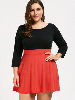 Plus Size Two Tone Dress - Orange 2xl