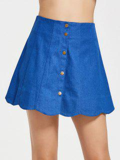 Snap Button High Waist Scalloped Skirt - Blue M