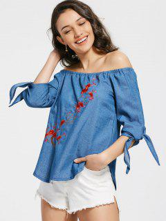 Off The Shoulder Floral Embroidered Chambray Blouse - Blue L