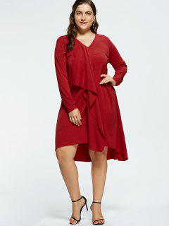 V-neck Plus Size High Low Party Dress - Red 5xl