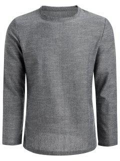 Side Zip Linen Camiseta De Manga Larga - Gris Claro 2xl