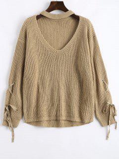 Drop Shoulder Lace Up Keyhole Sweater - Camel
