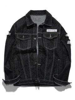 Graphic Ripped Denim Jacket - Black M