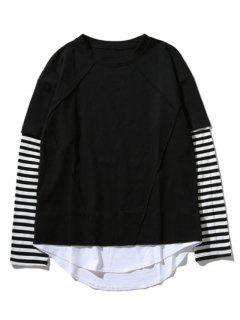 Crew Neck Stripe Panel T-shirt - Black M