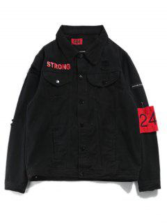 Ripped Streetwear Armband Denim Jacket - Black L