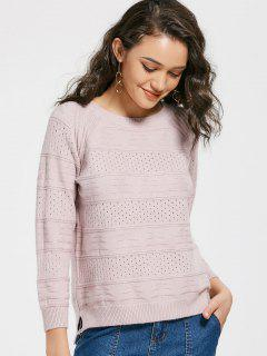 Pull Col Rond Ajouré  - Rose Clair