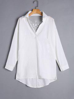 Asymmetric Sheer Lace Back Tunic Blouse - White M