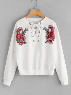 Lace Up Floral Patched Sweatshirt - White M