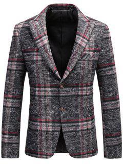 Single Breasted Tweed Plaid Blazer - Pink Xl