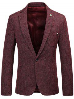 One Button Lapel Collar Space Dyed Blazer - Wine Red L