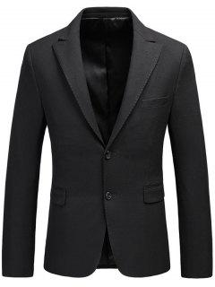 Single Breasted Flap Pocket Lapel Business Blazer - Black Xl
