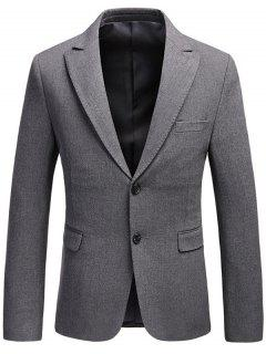 Single Breasted Flap Pocket Lapel Business Blazer - Gray Xl