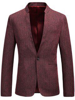 One Button Mandarin Collar Heathered Blazer - Wine Red Xl