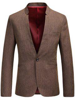 One Button Mandarin Collar Heathered Blazer - Brown Xl