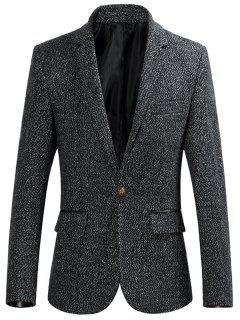 Lapel Collar One Button Heathered Blazer - Deep Gray 3xl