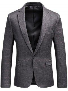 One Button Lapel Checked Blazer - Gray Xl