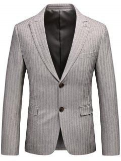 Single Breasted Lapel Vertical Stripes Blazer - Gray 3xl