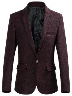 Lapel Collar One Button Heathered Blazer - Wine Red L