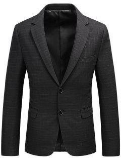 Single Breasted Flap Pocket Heathered Blazer - Black 3xl