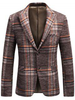 Single Breasted Tweed Plaid Blazer - Orange 3xl