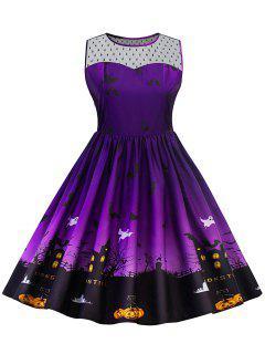 Halloween Lace Panel Plus Size Dress - Purple Xl