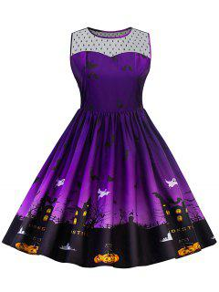 Halloween Lace Panel Plus Size Dress - Purple 4xl