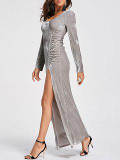 High Slit Velvet Maxi Kleid - Silber M