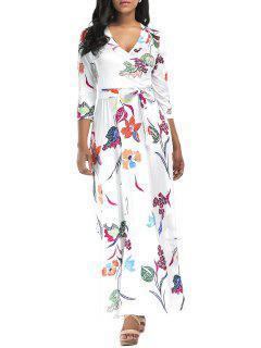 Flower Print Surplice Maxi Dress - White 2xl