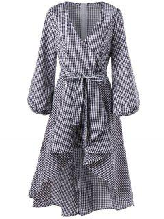 Lantern Sleeve High Low Plaid Surplice Dress - Checked M