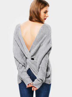 Pullover Mit Knoten Am Rücken Und Tiefem Ausschnitt - Grau
