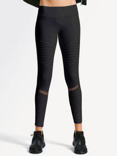 Textured Mesh Panel Yoga Leggings - Black S