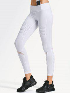 Textured Mesh Panel Yoga Leggings - White S