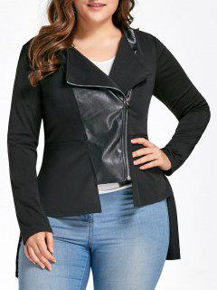 Plus Size High Low PU Leather Panel Jacket - Black 5xl