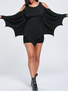 Halloween Cold Shoulder Batwing Top - Black 2xl