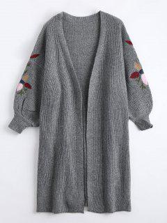 Collarless Embroidered Drop Shoulder Cardigan - Gris