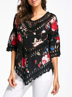 Floral Crochet Panel V Neck Top - Black
