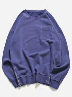 Crew Neck Pocket Side Zip Pullover Sweatshirt - Blue M