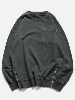 Crew Neck Pocket Side Zip Pullover Sweatshirt - Deep Gray M