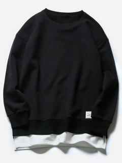 Crew Neck Faux Twinset Color Block Fleece Sweatshirt - Black L