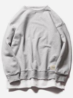Crew Neck Faux Twinset Color Block Fleece Sweatshirt - Gray L