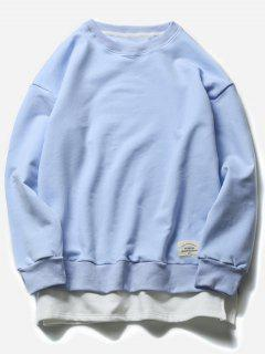 Crew Neck Faux Twinset Color Block Fleece Sweatshirt - Light Blue 2xl