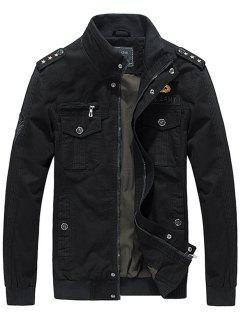 Zip Up Epaulet Design Star Embroidery Jacket - Black Xl