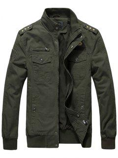 Zip Up Epaulet Design Star Embroidery Jacket - Army Green L