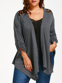 Plus Size Lace Panel Long Sleeve Cardigan - Gray 4xl