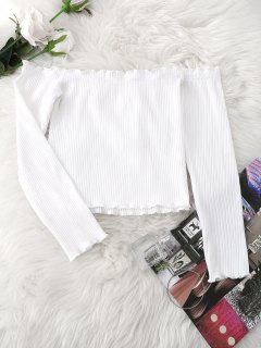 Knitted Ruffled Ribbed Off Shoulder Top - White