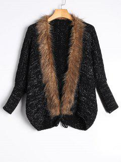 Faux Fur Trimmed Cable Knit Cardigan - Black