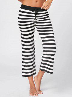 Striped Knit Wide Leg Lounge Pants - White And Black